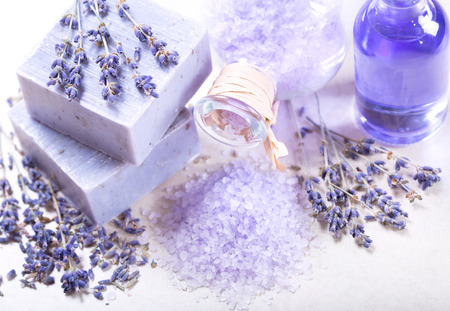 spa flower: lavender spa products : soap and salt with dried lavender flowers Stock Photo
