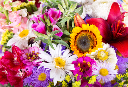 bouquet of various summer flowers Banque d'images