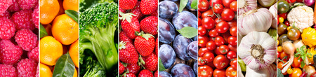 fruit market: collage of fresh fruits and vegetables, banner
