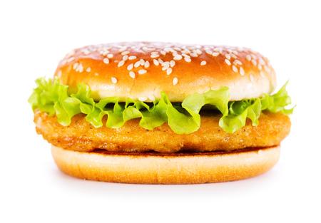 pollo: hamburguesa de pollo aislados sobre fondo blanco Foto de archivo
