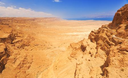 masada: View from fortress Masada on desert and dead sea, Israel.