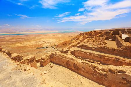 masada: Ruins of  high-rise fortress Masada, Israel