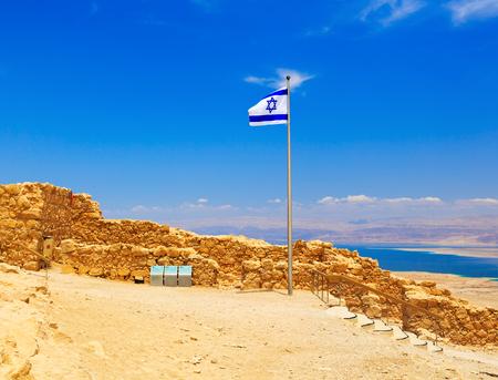 masada: Israel flag in fortress Masada, Israel