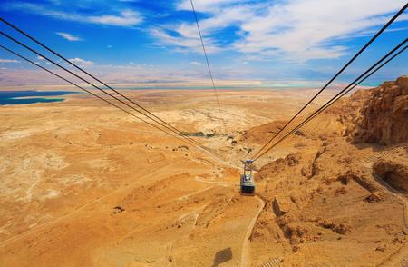 masada: Cable car in fortress Masada, Israel