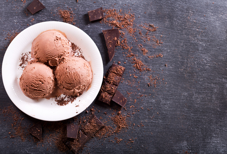 plate of chocolate ice cream scoops on dark background, top view copy space