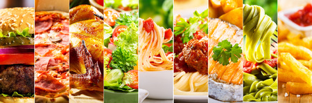 étel: Kollázs különböző élelmiszerek Stock fotó