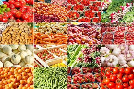collage van verschillende groenten en fruit in een boerenmarkt