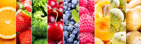 Cantaloupe: collage of fresh fruits and vegetables, banner