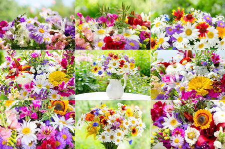 mixed marriage: collage of bouquets of summer flowers on green background