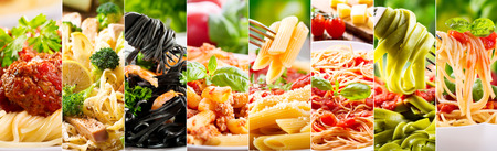 black dish: collage of various plates of pasta as background