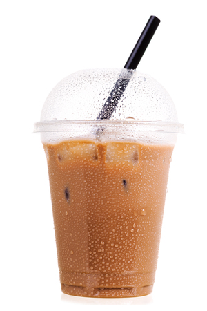 iced coffee in takeaway plastic cup isolated on white background