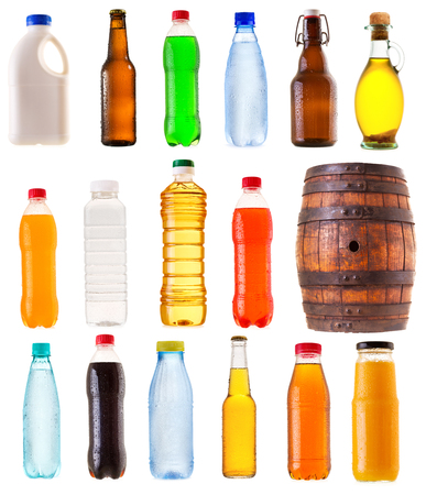 bebidas frias: set of various bottles isolated on white background Foto de archivo