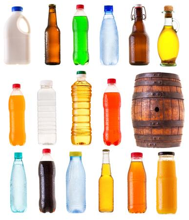 set of various bottles isolated on white background Stock Photo
