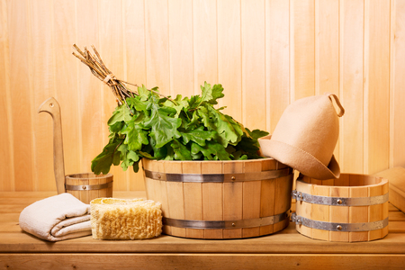 various sauna accessories in a wooden sauna
