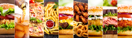 collage of various fast food products and drinks 版權商用圖片 - 87978260