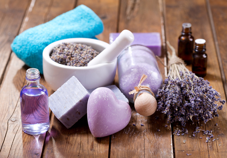 lavender spa products on a wooden table