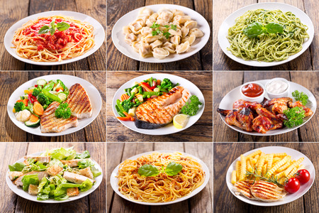 collage of various plates of meat, fish and chicken on wooden table Stockfoto