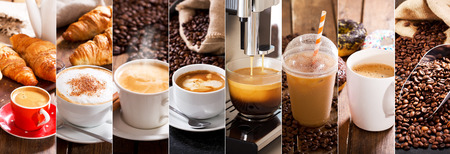 coffee collage of various cups and coffee beans