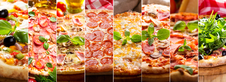 food collage of various types of pizza