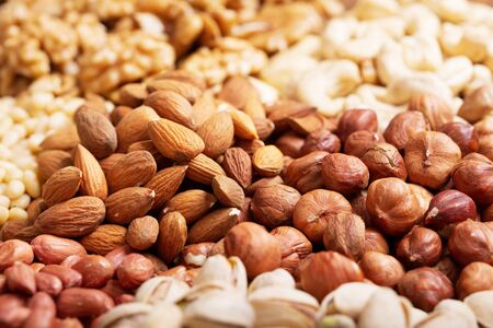 close up of mixed of nuts as background
