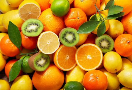 mix of fresh fruits as background, top view Stockfoto