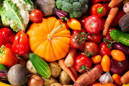 fresh ripe vegetables as background, top view