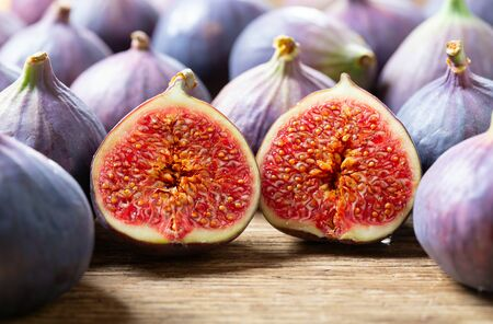 fresh figs fruit on a wooden table