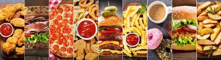 Food-Collage aus verschiedenen Fast-Food-Gerichten und -Getränken