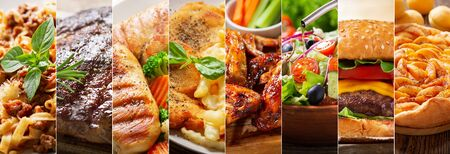 food collage of various types meals