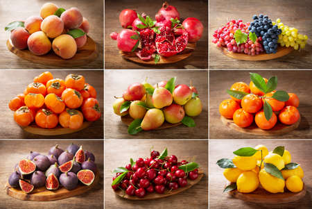 food collage of fresh fruits on a wooden table 版權商用圖片