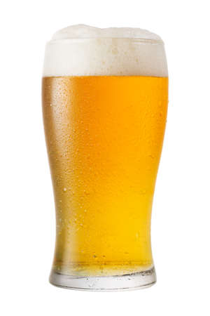 cold glass of beer isolated on white background 版權商用圖片