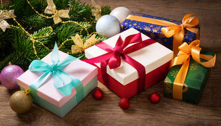 Christmas or New Year gift boxes on a wooden table 版權商用圖片