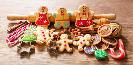 Christmas food. Homemade gingerbread cookies on a wooden table