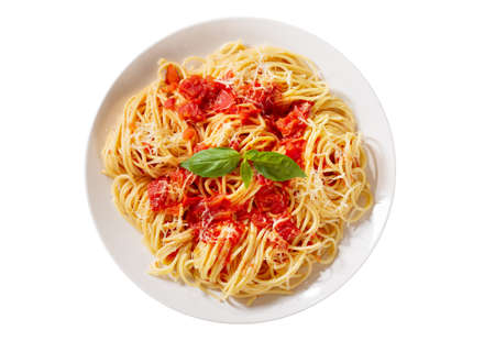 plate of pasta with tomato sauce isolated on white background, top view 版權商用圖片