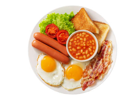 plate of fried eggs with bacon, beans, sausages, toasts and tomatoes isolated on white background, top view 版權商用圖片