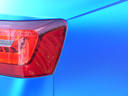 combined: Red rear light in progressive blue design, flat and silky