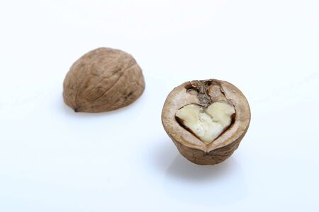 The isolated walnuts on the white Stock Photo