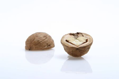 The isolated walnut on white in the form of heart