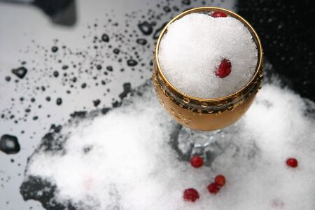 The isolated glass with snow