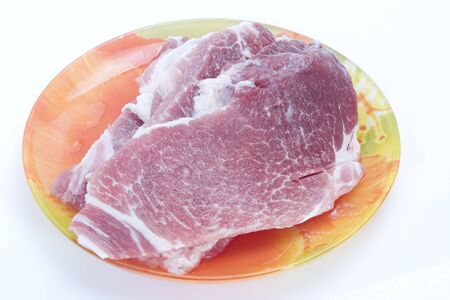 The big piece of fresh raw marble meat