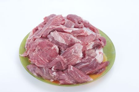 Pieces of fresh raw marble meat