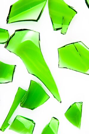 The green glass broken into slices Stock Photo