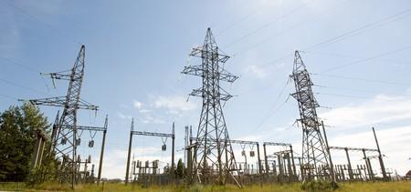 High voltage electricity pillars, pano
