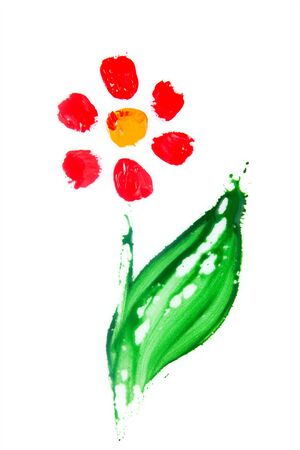 Floral summer with hand-painted abstract flower in different colors on white background