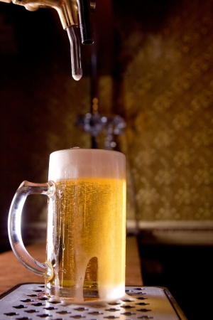Glass of beer on pub Stock Photo - 7866116