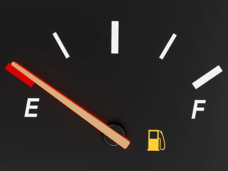 A closeup of a car fuel gauge showing empty photo