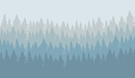 illustration of wild coniferous forest in morning fog