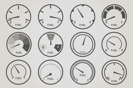 with sets of elements: Gauge meter icons sets. Infographic and car instrument design elements.