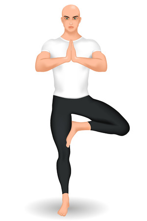vriksasana: Yoga teacher or instructor. Vector illustration Illustration