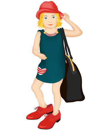 pretty little girl: Little fashionista in her mothers shoes and a hat, holding a huge bag.